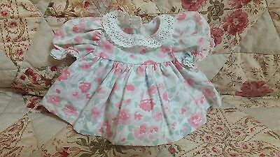 RARE HTF Mint Green & Pink Floral Dress for My Child Doll Colour & Cond GOOD !