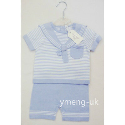 *SS18* Gorgeous ZipZap Baby Boy's Strip Knitted Sailor Collared Outfit