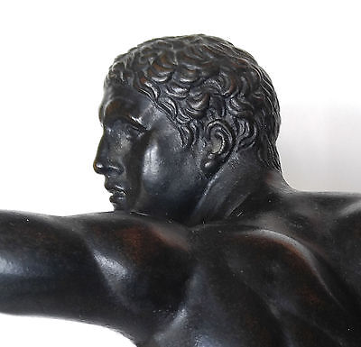 """19th C. Bronze  """"Borghese Warrior"""" after the Antique"""