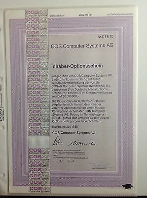 COS Computer Systems AG historischer Optionsschein 1/2 PS 1988/93