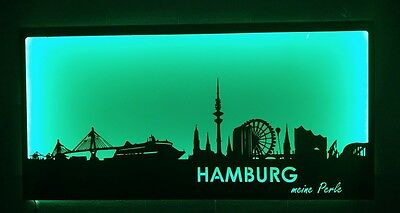 Hamburg skyline  120x60cm METALL LED Beleuchtung Unikat wandtattoo, Rost Optik