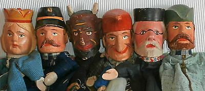 c1900 PUNCH& JUDY*wood carved  head CHARACTER PUPPETS *set of 6Germany & accesso