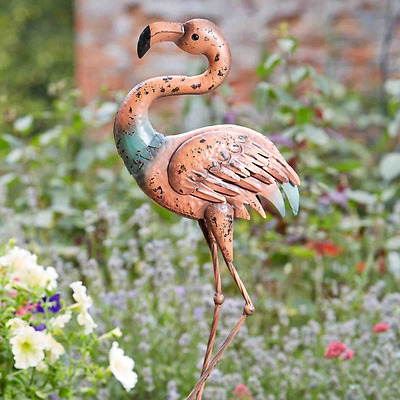Pink metal Flamingo Lawn Ornament Statue Garden Pond Feature Outdoor