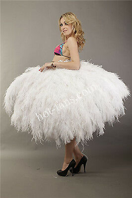 White large 4 Layers Ostrich Feather Fan Luxury fluffy with Boa Opened 67''