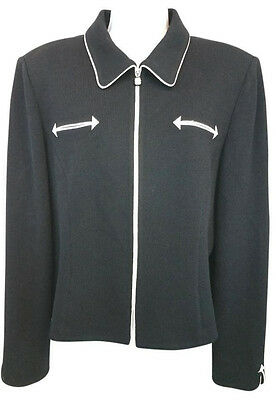 St. John Collection By Marie Gray White Trim Black Knit Jacket 10