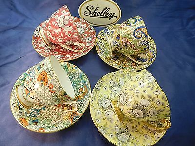 Shelley (4) Tapestry Rose And Paisley  Chintz * Ripon * Footed  Cups & Saucers