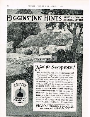 1932 Chas. Higgins & Co. Inks VTG PRINT AD Hints sandpaper your drawing