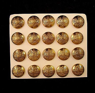 Antique SOLID Brass Buttons - Lion and Unicorn Coat of Arms - 20 per card