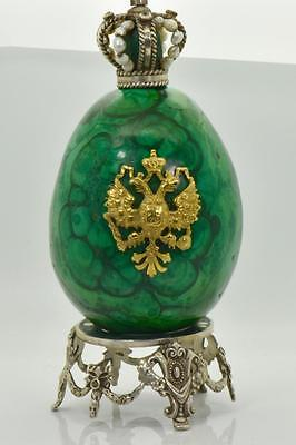 Rare antique Imperial Russian silver&hand carved Malachite rock Easter Egg .916g