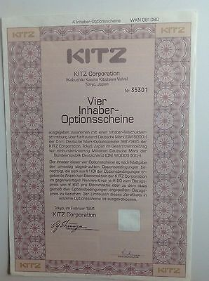 KITZ Corporation historischer Optionsschein 4er 1991/95