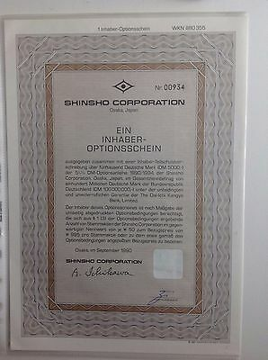SHINSHO Corporation historischer Optionsschein 1er 1990/94