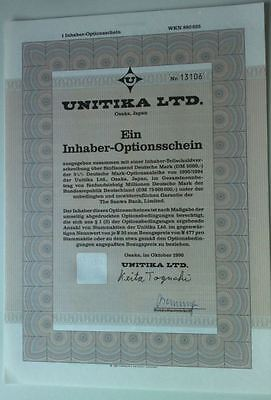 UNITIKA Ltd. historischer Optionsschein 1er 1990/94