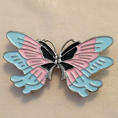 Metal And Enamel 2 Piece Butterfly Shaped Buckle # 314