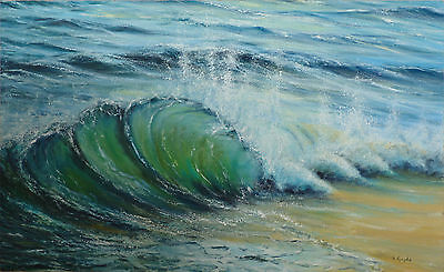 An original seascape painting by David Gayda,oil on board,waves,beach,sand