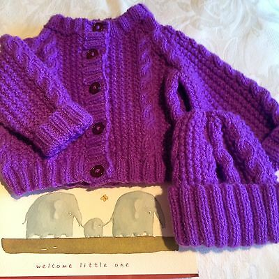 Handknitted Baby Cardigan And Hat With Greetings Card. Purple, Suit Boy Or Girl
