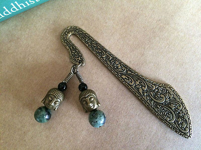 NEW Antiqued Brass Bali Buddhas Turquoise Mini Bookmark from Between the Pages
