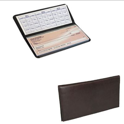 NEW Basic BROWN Leather Checkbook Cover FREE SHIPPING