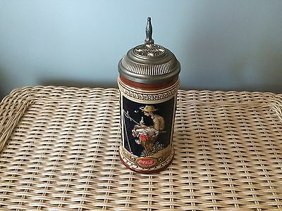 """Limited Edition 1987 Coca Cola Lidded Stein """"Out Fishin"""""""