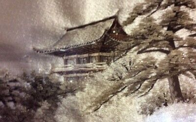 ANTIQUE 19C JAPANESE SILK EMBROIDERY FUJI AND BOAT WATER Unframed