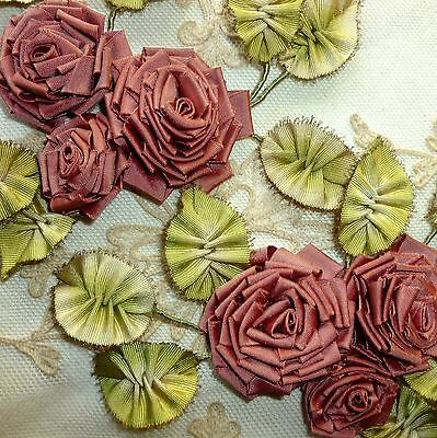 Antique French Silk Ombe Ribbon work Leaves Silk Taffeta Roses Gold Metal Picots