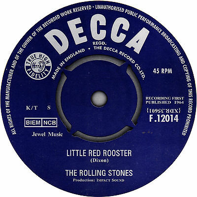 Rolling Stones Little Red Rooster record label sticker. Decca