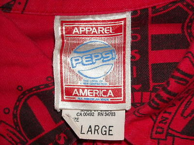 Vintage Red Long Sleeve Button Men's Pepsi Cola Shirt Apparel America ~ Size XL