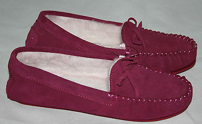 Ladies Pink Real Suede Leather Moccasin Slippers NEW Womens Sizes 5 & 6 UK