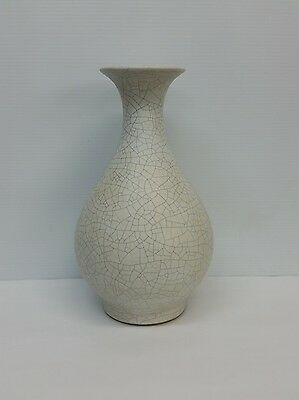 Antique Chinese White Crackle Pear Shaped Vase