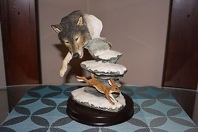 Vintage Wolf Statue Beautiful detail Wildlife Western Collectibles Art