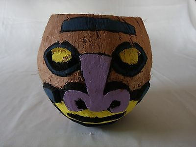 Hand Carved Multi-coloured Painted  Philippine Tiki Coconut Head
