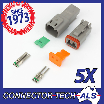 5X Deutsch DT 2-way 2 Pin Electrical Connector Kit #DT2-TRx5