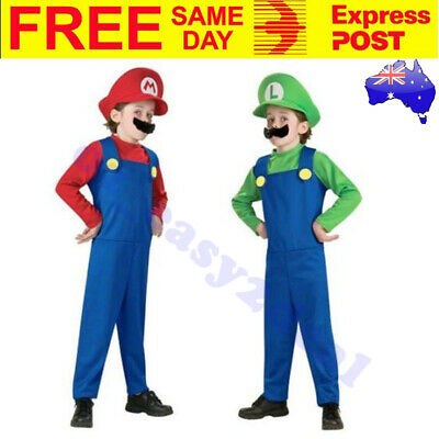KIDS SUPER MARIO LUIGI BROS PLUMBER COSTUME HAT & MOUSTACHE Size 3-12 Book Week