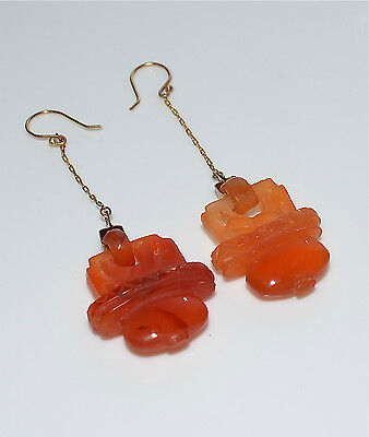 Vintage Chinese Carnelian Hinged Basket Carving + 14 Kt Gold Drop Earrings