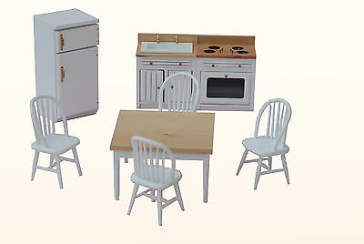 Wooden White Kitchen Doll House Furniture Set