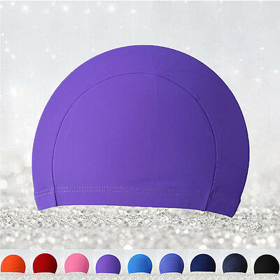 Unisex Polyester Swimming Men Women Adult Swim Spandex Fabric Easy Fit Hat Cap