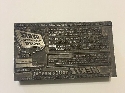 HERTZ ADVERTISING METAL PRINT BLOCK LETTERPRESS PLATE Vintage Truck paperweight