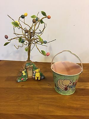 Classic Winnie the Pooh Easter Tree Piglet Pooh's House Decoration Tin Bucket