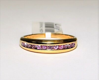 9k Yellow Gold Pink Stone Channel Set Ring Eternity Anniversary R & D #759638