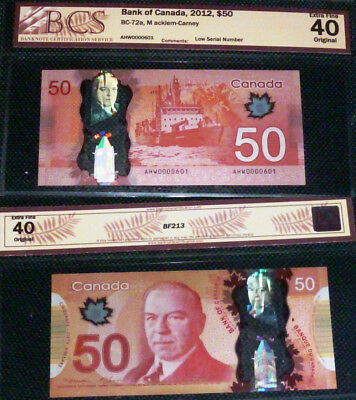 LOW SERIAL Number 601- Bank OF Canada - 2012  $50 - Certified Banknotes