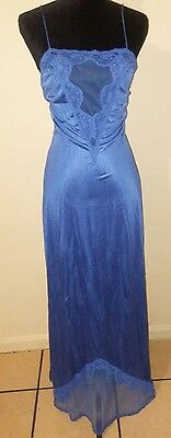 Jenelle of California Nylon LACE Nightgown /Vintage/Blue size L/XL/Tall