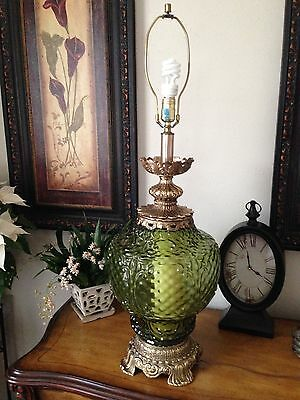 Vintage Mid Century Green Art Glass Table Lamp With Lighted Base 36