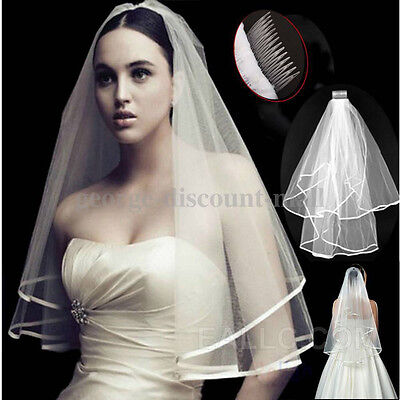 Beautiful White 2T  Wedding Accessory Bridal elbow Satin Edge Veil With Comb AU