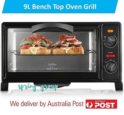 Electric Benchtop Oven Grill 9 Litre Cooker Roast Toaster Timer Baking Tray Cook