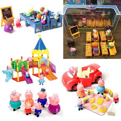 2017 Toys Kids Gift NEW Peppa Pig Family&Friends Figure Car Slide with Figures
