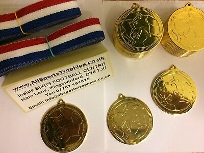 25 x Metal Football Medals & Ribbons. Silver FREE ENGRAVING Birthday Party Medal