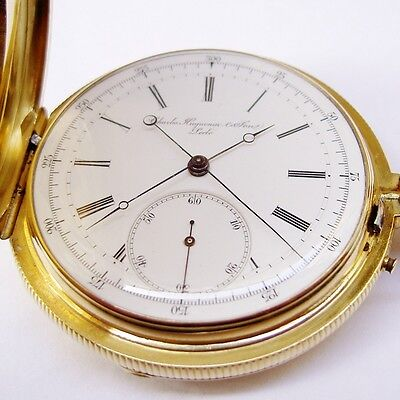 MONTRE SAVONETTE OR 18K SECONDE INDEPENDANTE HUGUENIN LE LOCLE - Pocket Watch