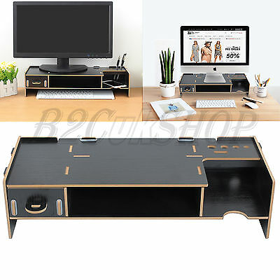 Shelf Plinth Wooden Desktop Monitor Stand TV LCD Laptop Computer Screen Riser
