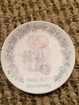 "Enesco Precious Moments ""Happy 50th Anniversary"" Small Plate, 4"" round 1988"