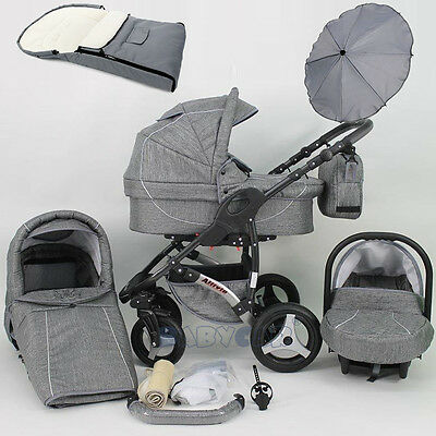 Baby Pram Stroller 3in1 Car seat Pushchair Buggy swivel wheels Umbrella Footmuff