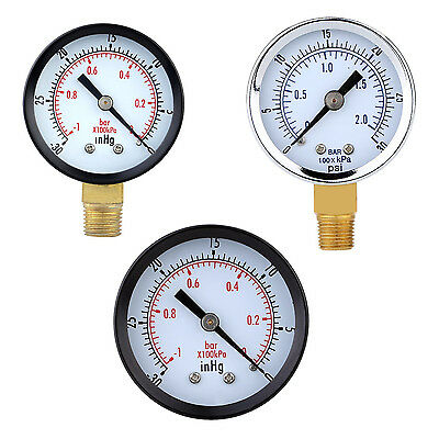 Pressure Gauge - 0 ~ -30inHg  0 ~ -1 bar Mini Dial Air vacuum  gaugeA8J5